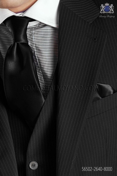Black satin tie and handkerchief