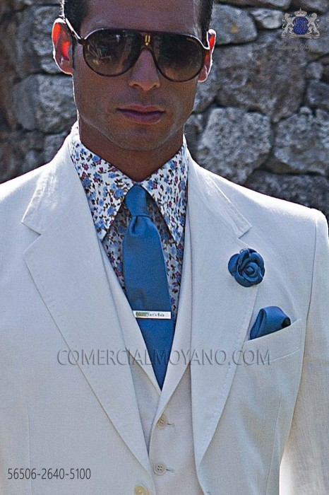 Narrow blue satin tie with matching handkerchief