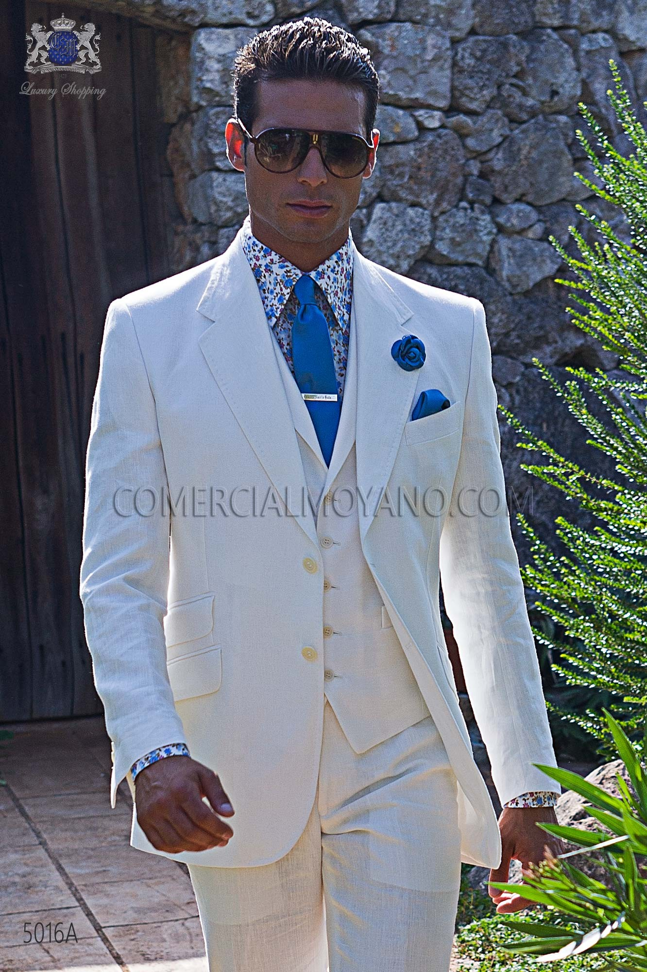 Italian bespoke white linen suit 5016A Ottavio Nuccio Gala