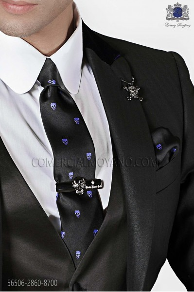 Narrow black tie and handkerchief silk satin with ppurple skulls