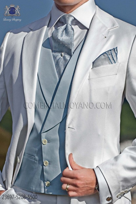Light blue double-breasted waistcoat in cotton satin