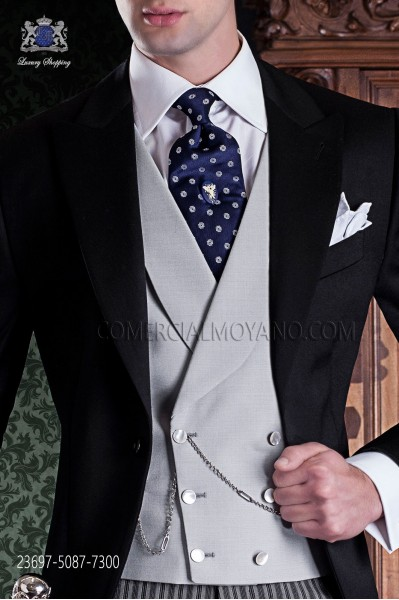Light gray groom double-breasted waistcoat 23697-5079-7300 Ottavio Nuccio Gala