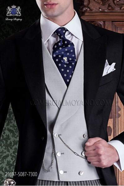 Chaleco cruzado gris claro liso lana