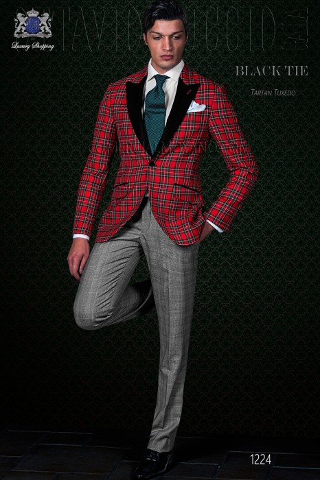 Italian red tartan wedding tuxedo