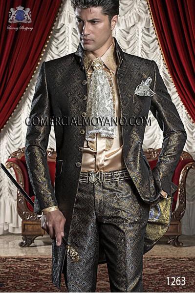 Baroque Italian grey/gold wedding suit