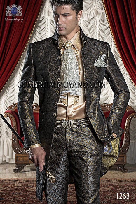 Baroque Italian black/gold wedding suit