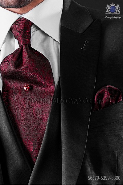 Red cashmere design ascot tie with maching pocket handkerchief