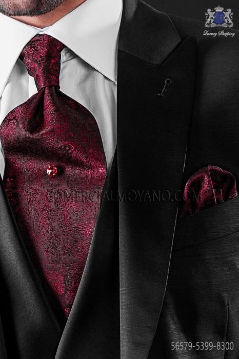 Red cashmere design ascot tie with maching pocket handkerchief