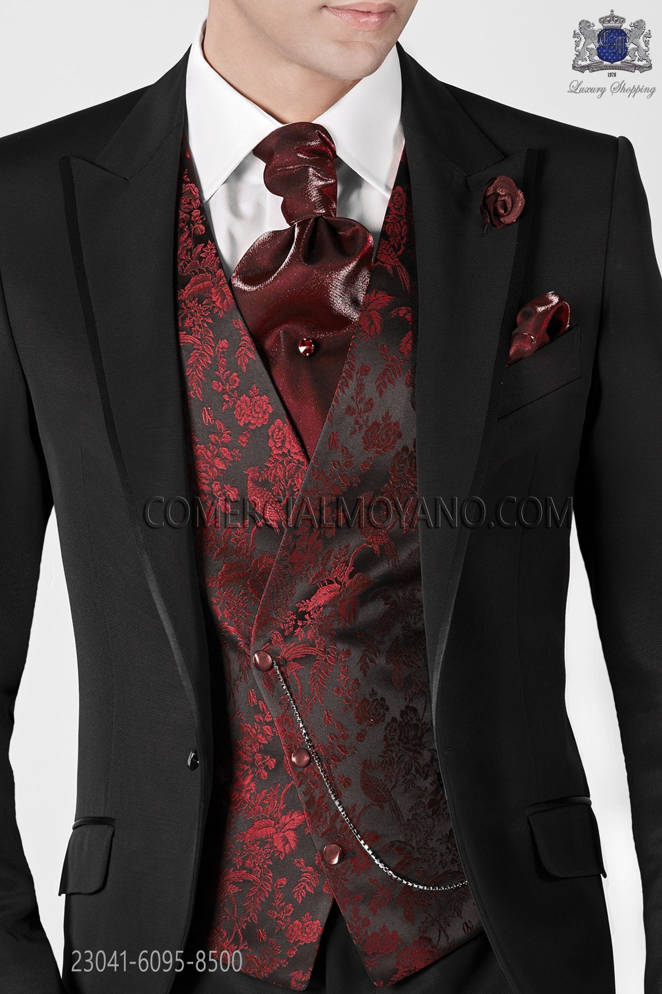 Black With Red Flowers Asymmetric Waistcoat In Pure Jacquard Silk