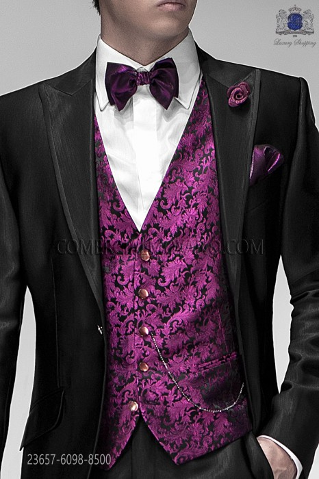 Black groom waistcoat in silk jacquard fabric