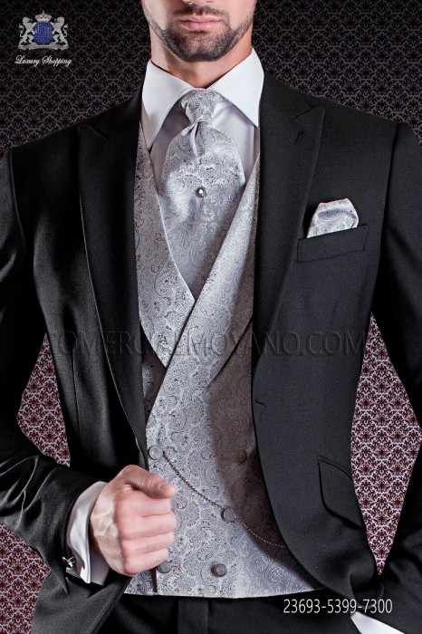 Pearl gray jacquard groom double breasted waistcoat 6 buttons shawl collar