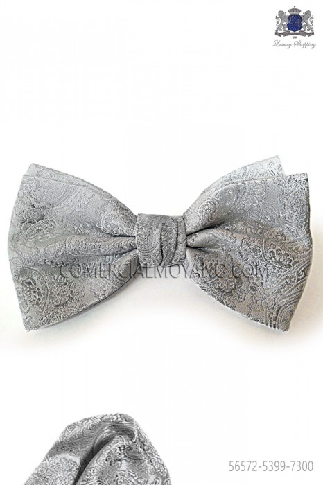Groom bow-tie and handkerchief in pearl jacquard