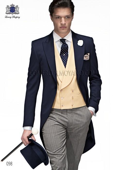 Italian navy blue frock coat with elegant slim fit.
