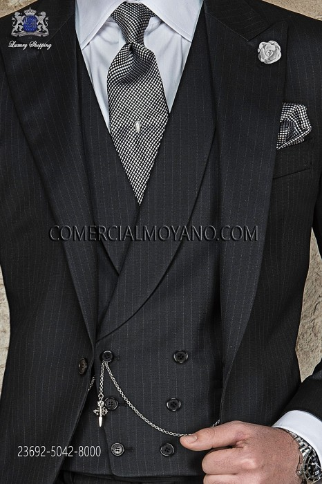 Black pinstripe double-breasted waistcoat