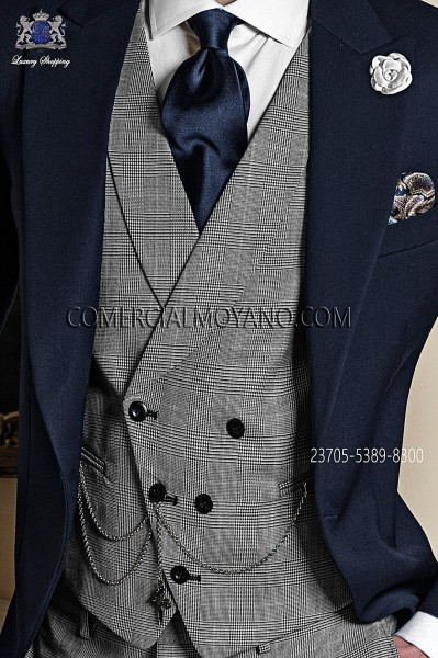 Double-breasted waistcoat in wool Prince of Wales fabric