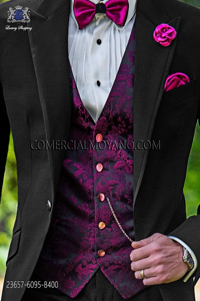 Black-fuchsia groom waistcoat in silk jacquard fabric