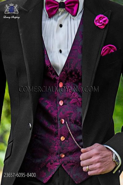Black-fuchsia groom waistcoat in silk jacquard fabric