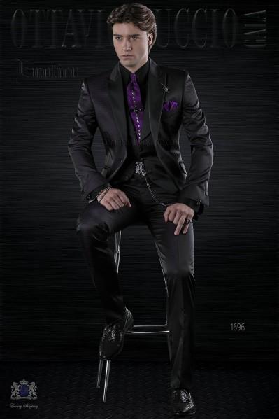 Italian fashion bespoke black and purple polka dots suit