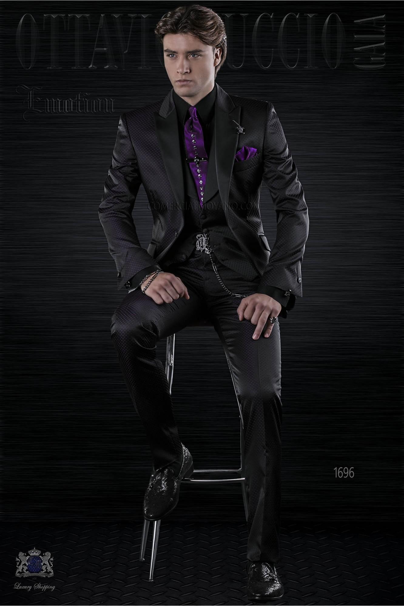 mode herren anzug schwarz mit violett mikromuster ottavio nuccio gala. Black Bedroom Furniture Sets. Home Design Ideas