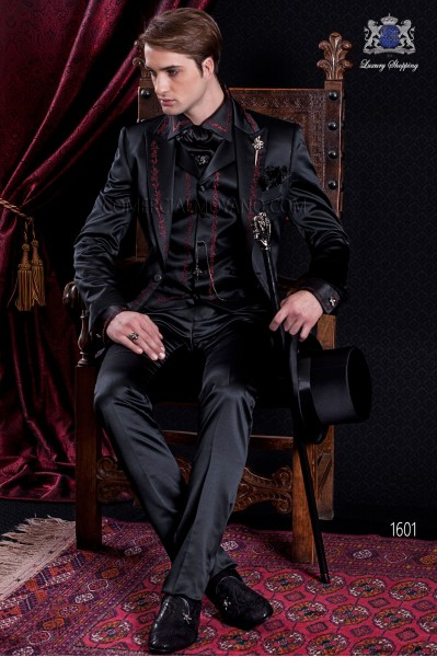 Groomswear Baroque. Vintage suit coat black satin fabric with red embroidery.
