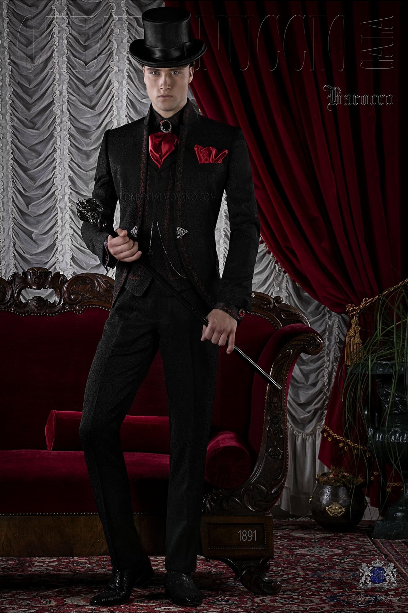 Traje de novio gótico de jacquard negro con bordado rojo.