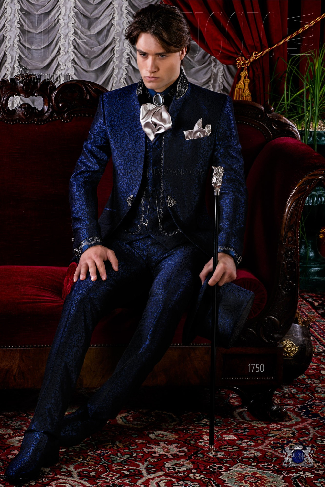 Brocade blue baroque frock coat with crystal rhinestones model 1750 Ottavio Nuccio Gala