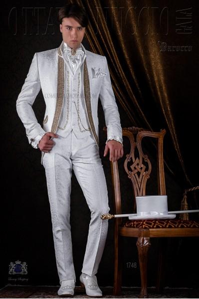 White brocade baroque frock coat with golden crystal rhinestones.