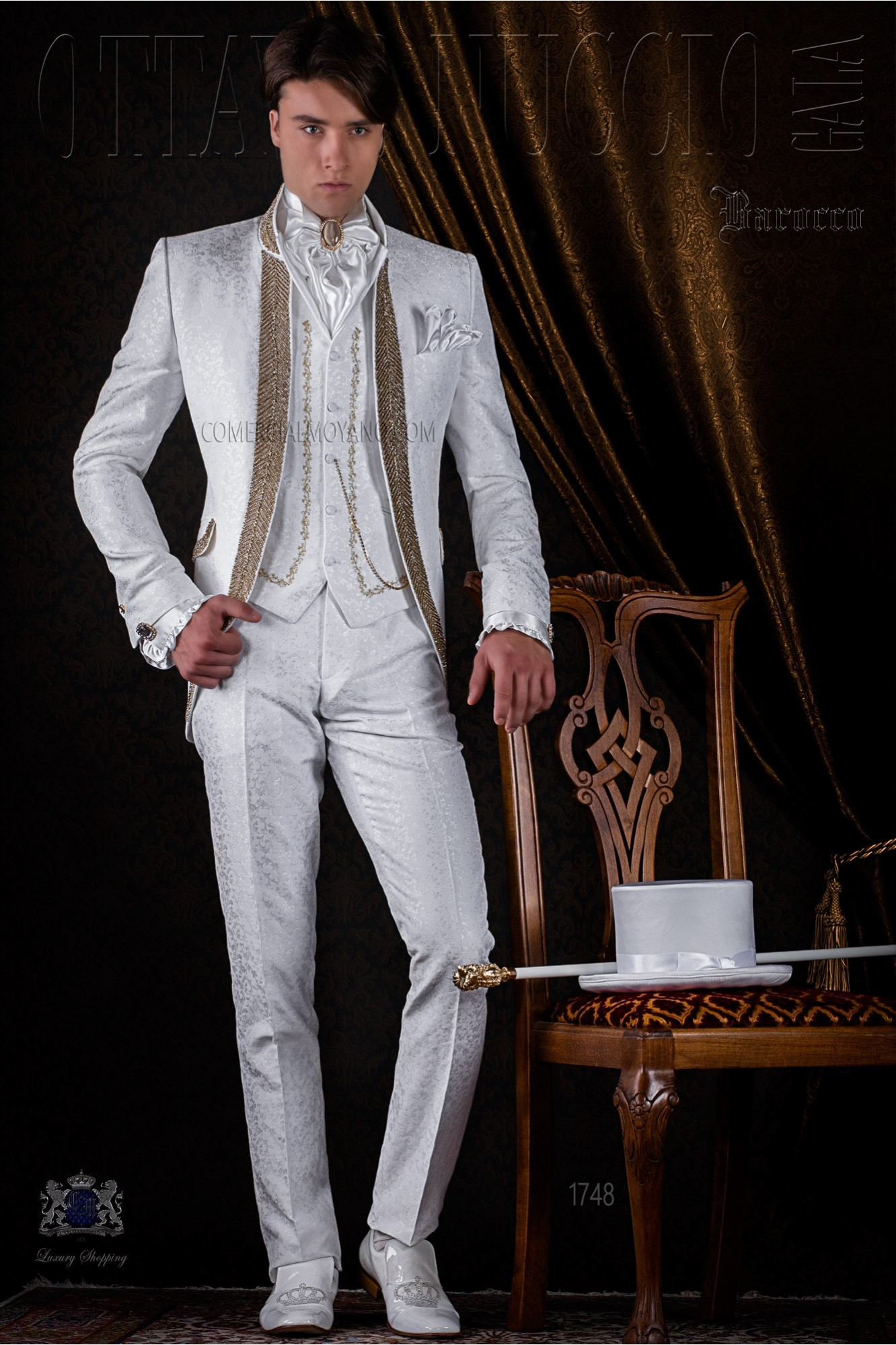 White brocade baroque frock coat with golden crystal rhinestones model 1748 Ottavio Nuccio Gala