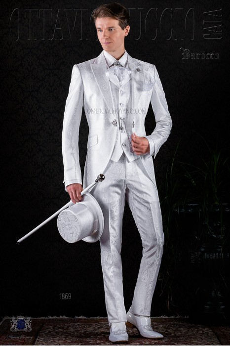 Baroque white jacquard frock coat with crystal brooch.