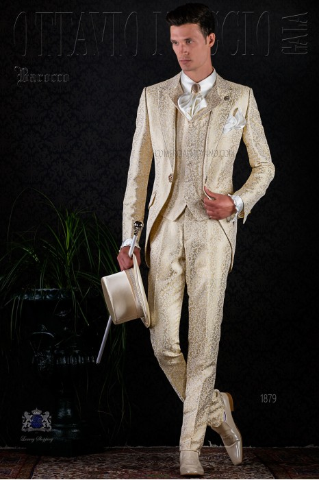 Golden brocade baroque frock coat with golden crystal rhinestones.