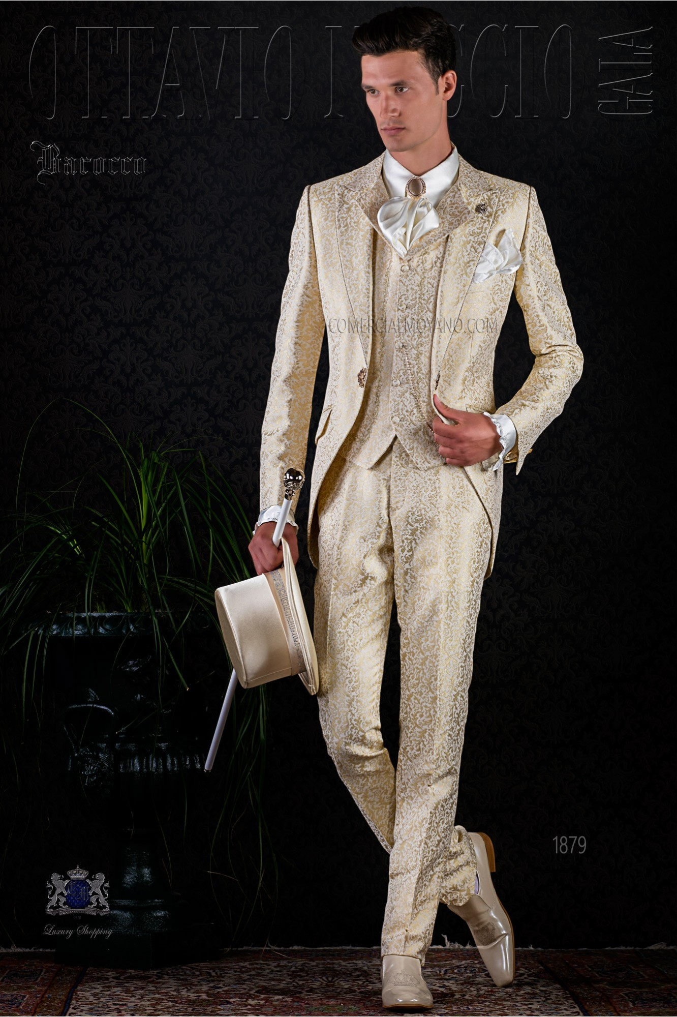 Golden brocade baroque frock coat with golden crystal rhinestones model 1879 Ottavio Nuccio Gala