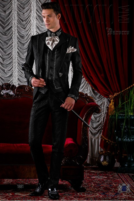 BBaroque brocade black frock coat with crystal rhinestones.