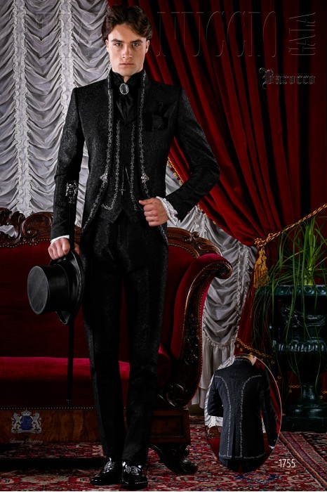 Baroque brocade black frock coat silver embroidered.