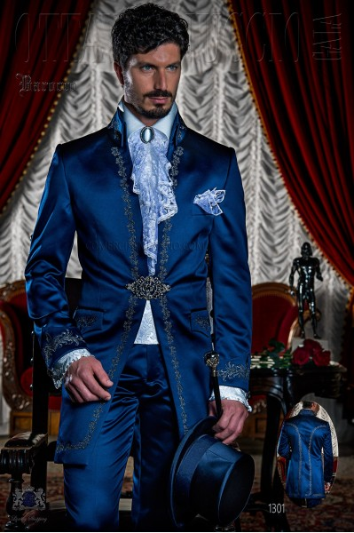 Baroque royal blue satin frock coat silver embroidered