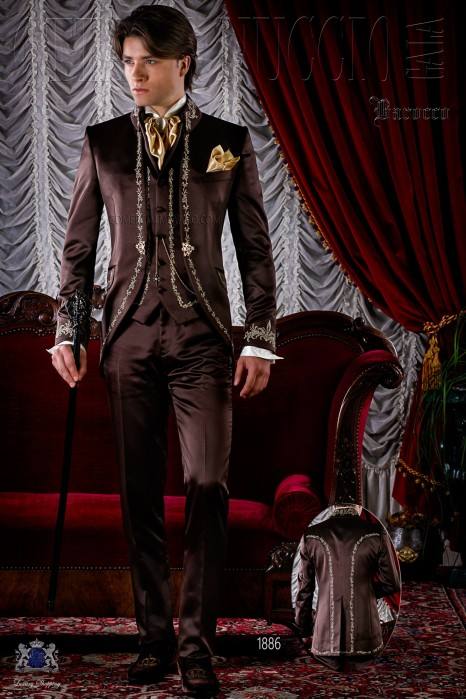 Brown satin baroque frock coat with gold embroidery.