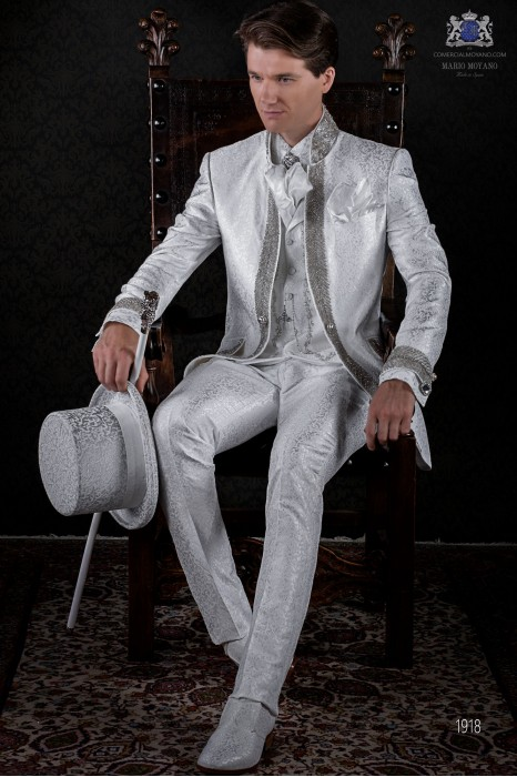 Baroque white brocade frock coat with crystal rhinestones.
