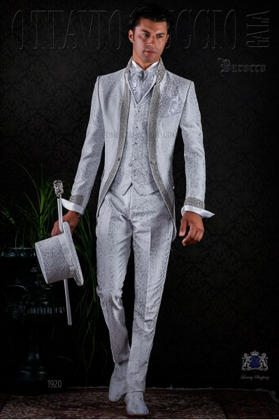 Baroque pearl grey brocade frock coat with crystal rhinestones.