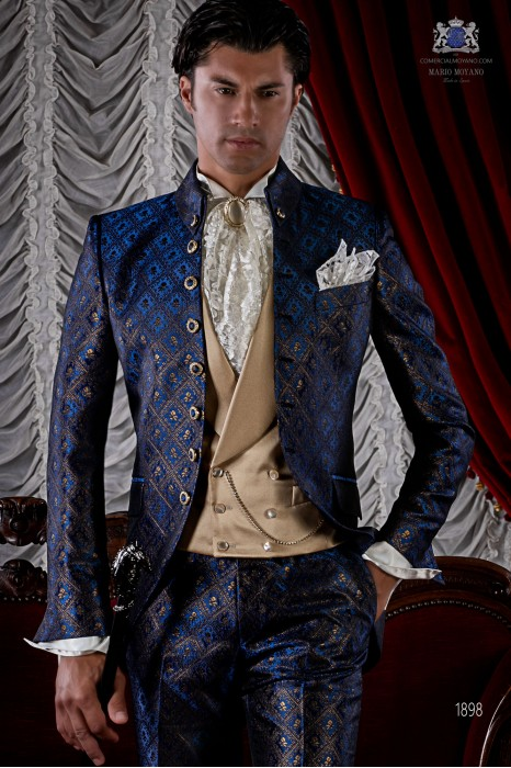 Blue and golden brocade baroque frock coat.