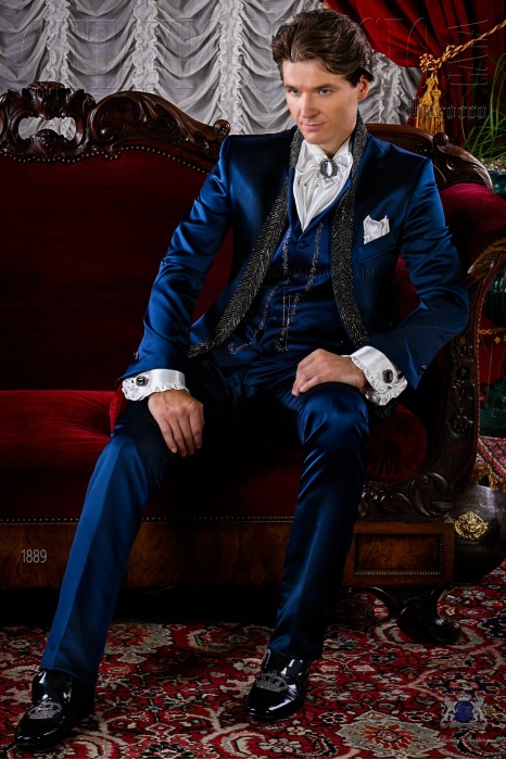 Blue satin baroque frock coat with crystal rhinestones.