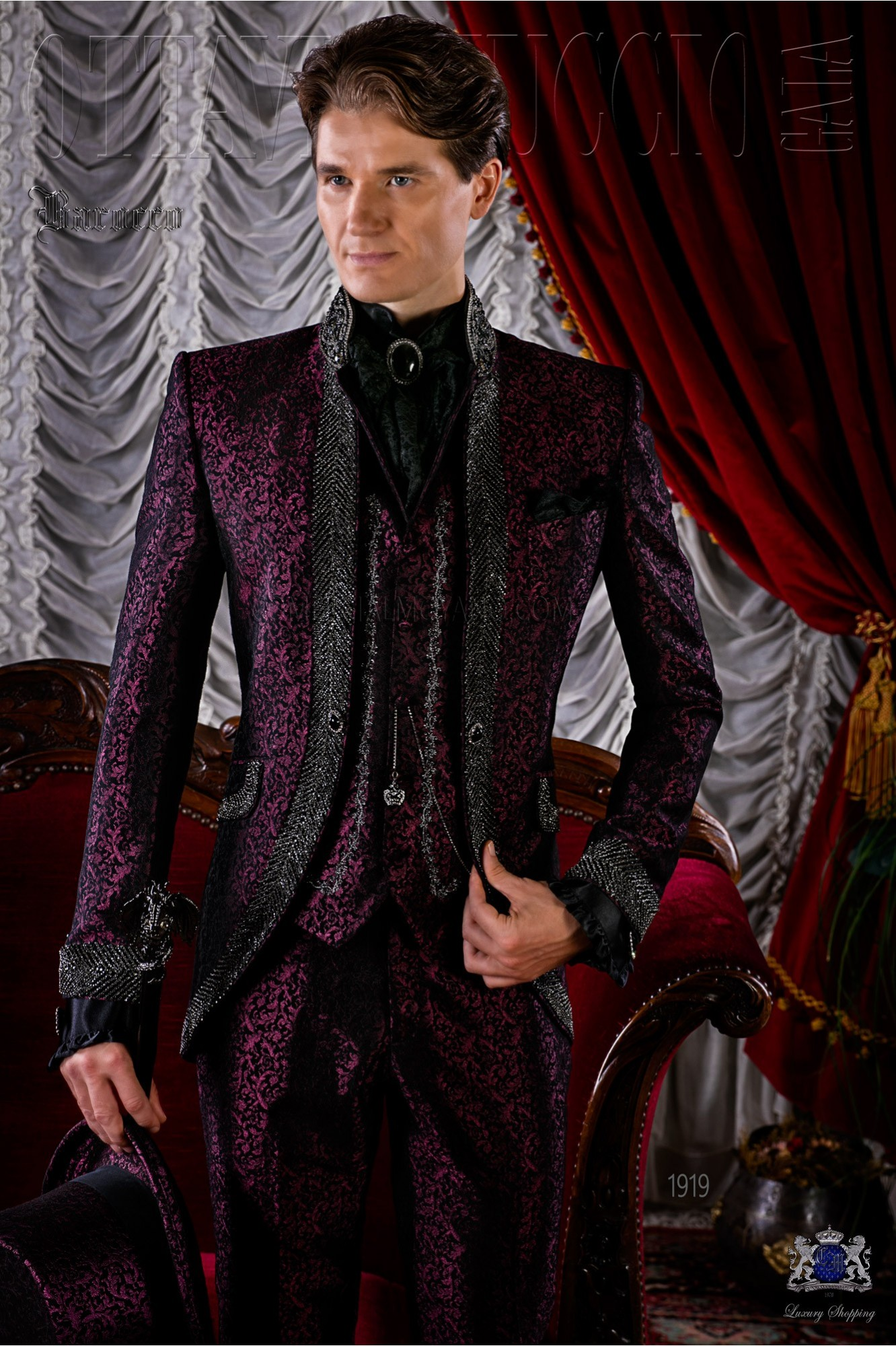 Baroque brocade purple frock coat with crystal rhinestones model 1919 Ottavio Nuccio Gala
