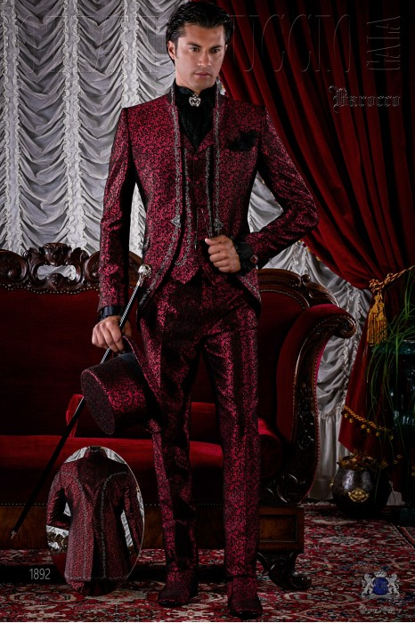Baroque brocade red frock coat silver embroidered.