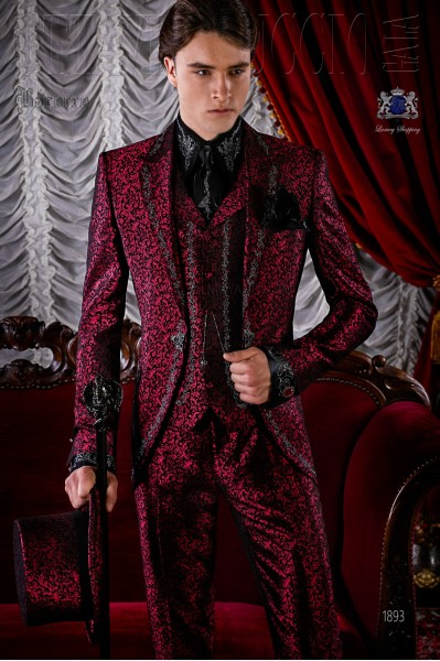 Gothic red brocade frock coat silver embroidered.