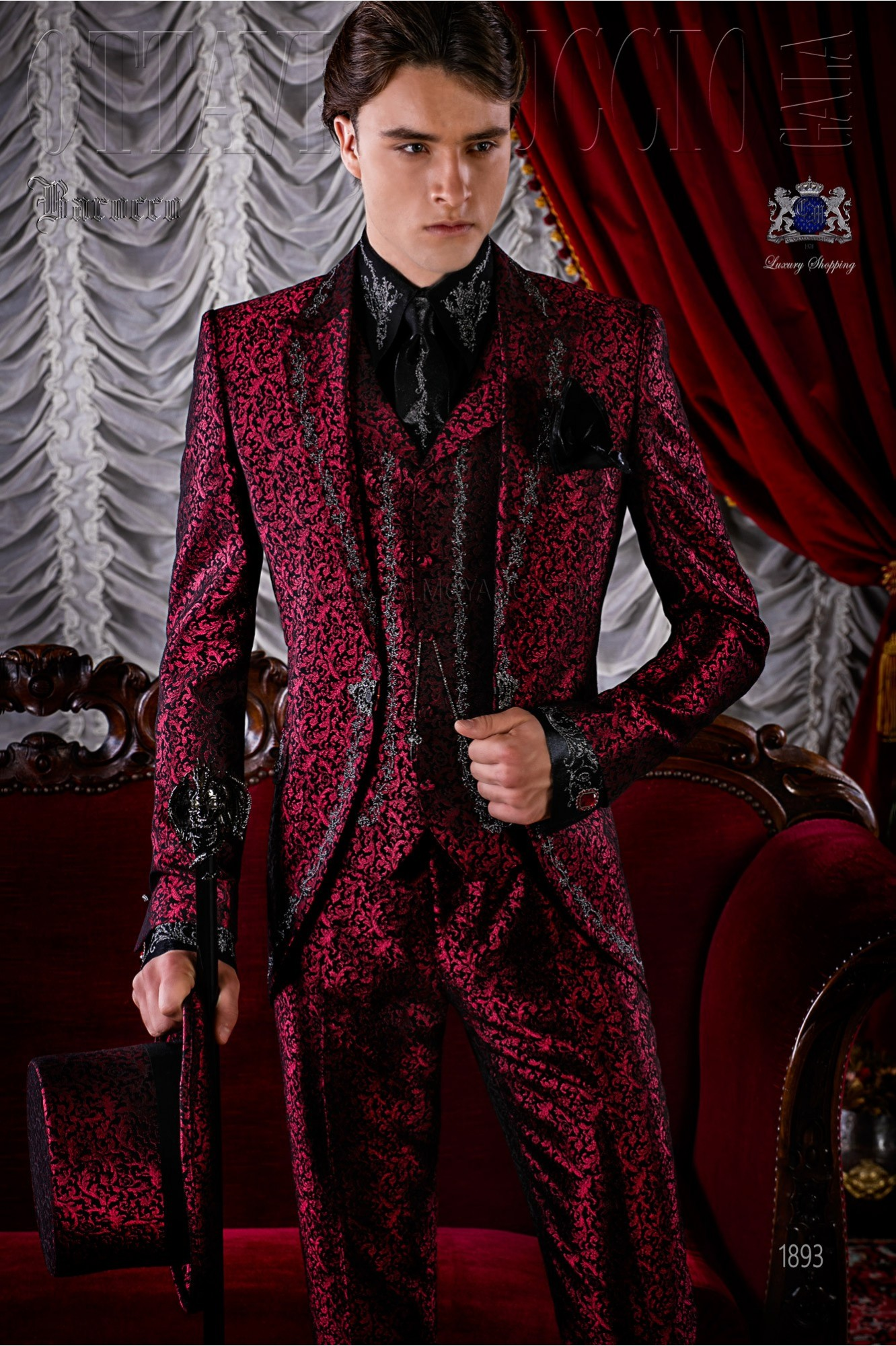 Gothic red brocade frock coat silver embroidered model 1893 Ottavio Nuccio Gala
