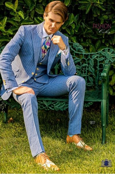 Italian bespoke light blue striped linen suit