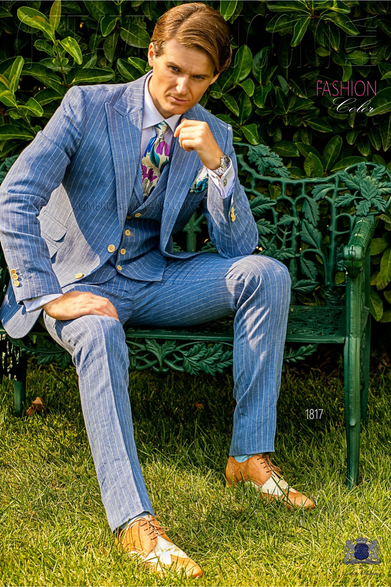 Italian bespoke light blue striped linen suit