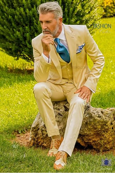 Traje italiano a medida beige en raso de algodón