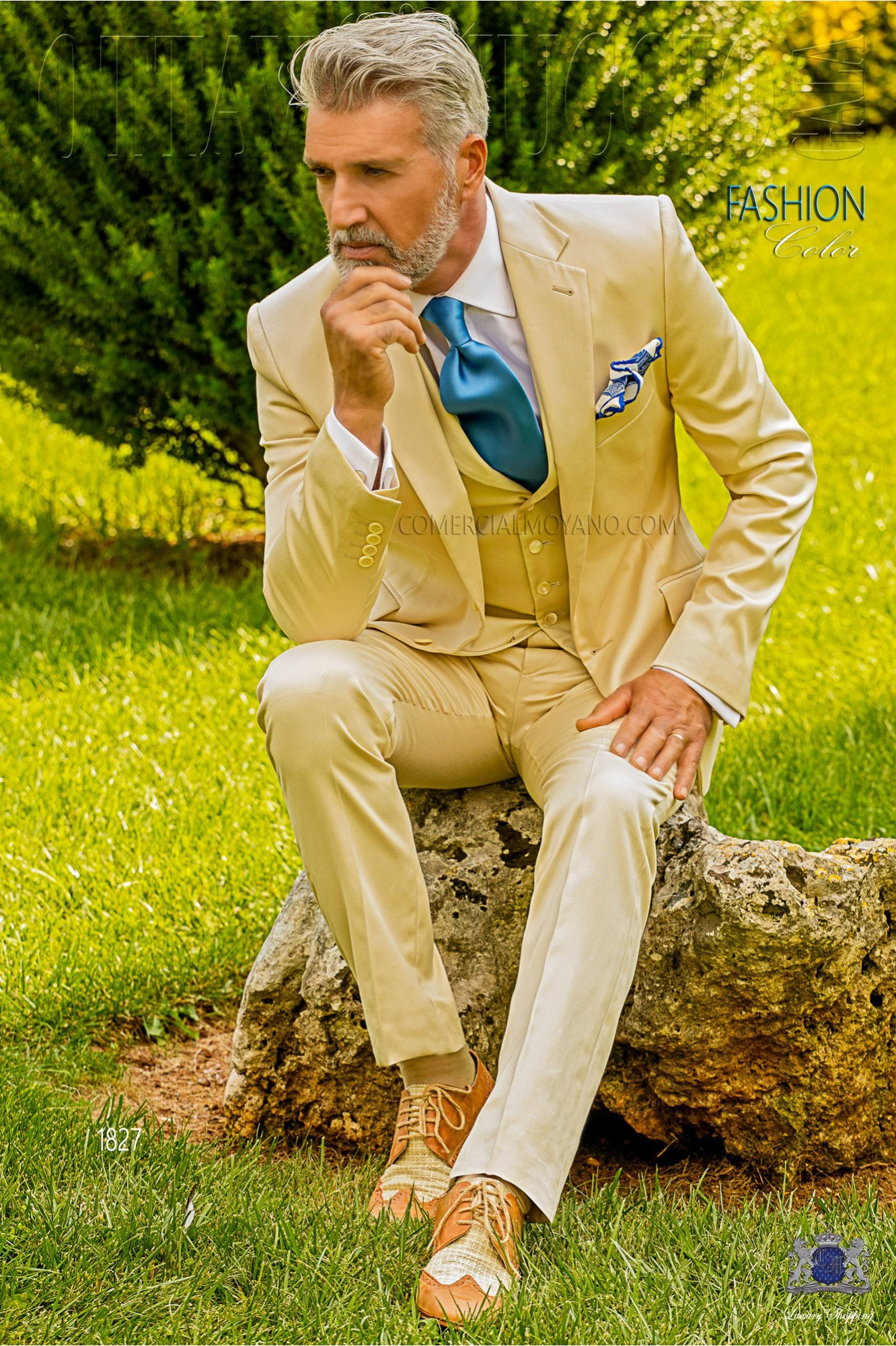 Italian bespoke pure cotton satin beige suit model 1827 Ottavio Nuccio Gala