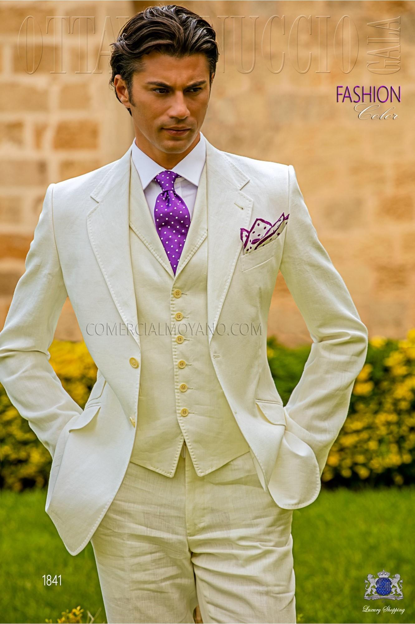 Traje italiano a medida blanco de lino con pespunte