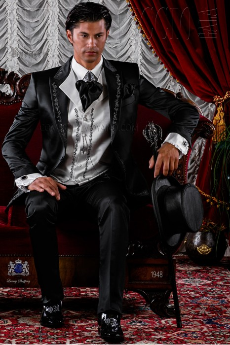 Baroque black satin frock coat silver embroidered