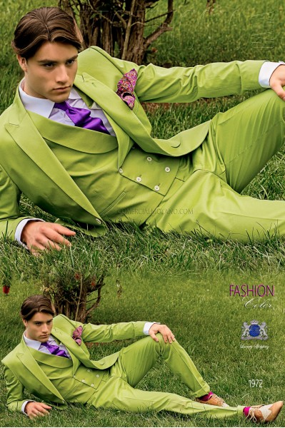Italian bespoke pure cotton green fashion suit